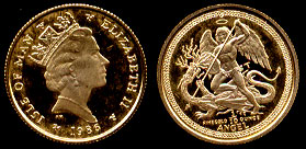 1986 T Isle of Man  Angel 1/10 Troy oz Gold Coin