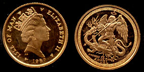 1987 L Isle of Man  Angel 1/10 Troy oz Gold Coin