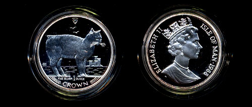 1988 Manx Cat proof Silver one ounce Coin