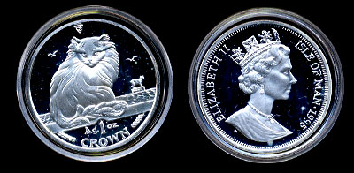 1995 Maine Coon Cat  proof Silver one ounce Coin