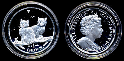 2003 Balinese Cat proof Silver one ounce Coin