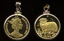 1989 1/5 Oz Persian Cat Pure Gold  Coin 14K Diamond Cut Bezel