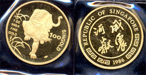 1986 Singapore year of the Tiger one ounce gold coin