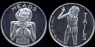 Heads Or Tails Sexy Adult Flip Coin  Silver Round