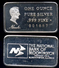 Swiss-22  The National Bank of Bloomington Silver Artbar