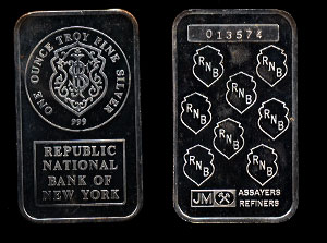 JML-5  Republic National Bank of New York Silver Artbar