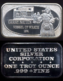 USSC-67  Carry Nation Silver Artbar