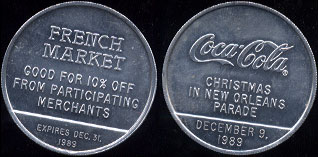 Coca-Cola 1989 Coca-Cola Christmas in New Orleans Parade French Market (4.6 Grams of Aluminum)  10 Available