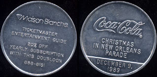 Coca-Cola 1989 Coca-Cola Christmas in New Orleans Parade Maison Bianche (4.6 Grams of Aluminum)  10 Available