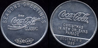 Coca-Cola 1989 Coca-Cola Christmas in New Orleans Parade Coca-Cola Classic -- Seasons Greetings (4.6 Grams of Aluminum)  10 Available