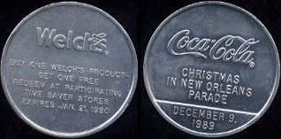 Coca-Cola 1989 Coca-Cola Christmas in New Orleans Parade Welch's (4.6 Grams of Aluminum)  10 Available Aluminum Round