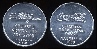 Coca-Cola - 1989 Coca-Cola Christmas in New Orleans Parade Fair Grounds Token - 1 Round