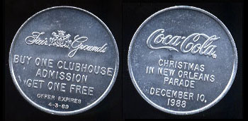 Coca-Cola - 1989 Coca-Cola Christmas in New Orleans Parade Fair Grounds Token - 2 Round
