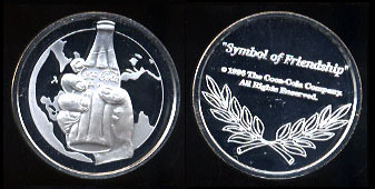 "Coca Cola - 1996 ""Symbol of Friendship"" Silver Round"