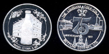 WWM-69 Coca Cola 75th Anniversary Louisiana Coca-Cola Bottling Company, Ltd. Silver Round