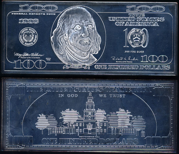 "1998 Silver Proof $100 ""Federal Reserve Note"" Benjamin Franklin Silver Currency Bar"