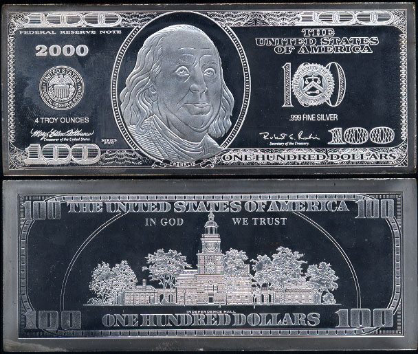 "2000 Silver Proof $100 ""Federal Reserve Note"" 4 oz Franklin Silver Currency Art Bar"
