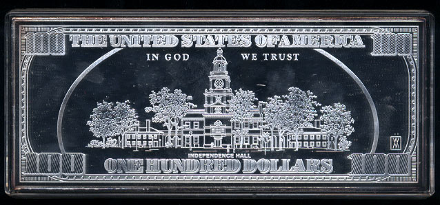 """2004 $100 Silver Proof *Federal Reserve Note* .999 Fine Silver 4 Troy oz Total Weight Measures 6""""x 2 1/2"""" Silver Artbar"""