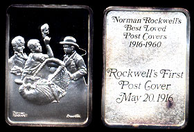 Norman Rockwell's First Post Cover 1916 Silver Art bar