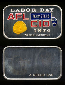 CEM-18EN Labor Day 1974 AFL CIO Teamsters Silver Artbar