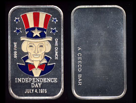 CEM-57EN Independence Day July 4th, 1975 Silver Artbar