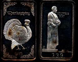CM-3 (1973) Thanksgiving Mintage: 500 - SN: 338 Silver Artbar