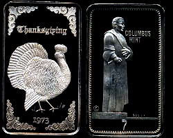 CM-3 (1973) Thanksgiving Mintage: 500 - SN: 7 Silver Artbar