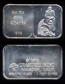"CT-4 (1973) ""Let Us Give Thanks"" Silver Artbar"