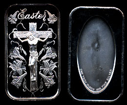 ST-298 Easter w/ Crucifixion Silver Art Bar