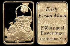 "HAM-204G 1976 Annual Easter Ingot ""Early Easter Morn"" Silver Artbar"