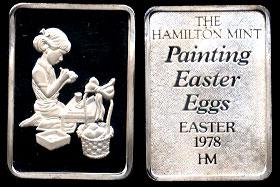 """HAM-37 1978 Easter Ingot """"Painting Easter Eggs"""" Silver Artbar"""