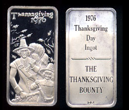 "Hamilton Mint   Thanksgiving Ingot 1976 ""The Thanksgiving Bounty"""