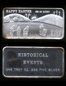"HE-10 (1985) Happy Easter ""He is Risen, He is Not Here"" Silver Artbar"