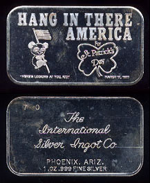 "ISIC-10 (1975) ""Hang In There America"" Silver Artbar"
