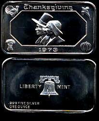 LBTY-4 Thanksgiving 1974 Silver Artbar