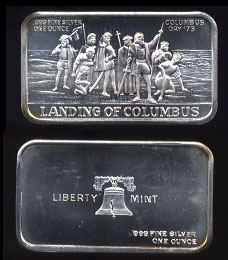 LBTY-6V1 Landing of Columbus Colombus Day '73 Silver Artbar