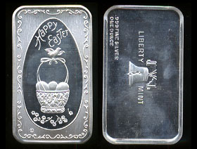 LBTY-9  Happy Easter 1974 Silver Artbar