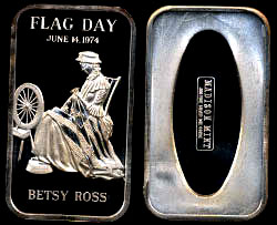 MAD-46 Betsy Ross Flag Day, 1974 Silver Artbar