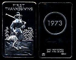 MEM-7 First Thanksgiving 1973  Silver Artbar
