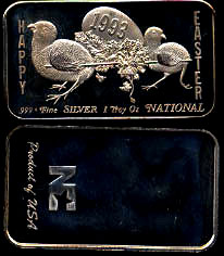 NA-153 Happy Easter 1993 Silver Artbar