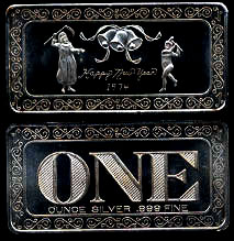 ONE-4 Happy New Year 1974 Silver Artbar