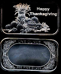ST-299 (2006) Happy Thanksgiving Silver Artbar