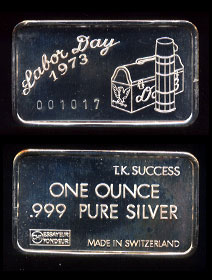 SWISS-1 Labor Day 1973 Silver Artbar