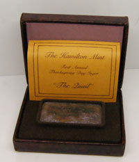 "HAM-3  First Annual Thanksgiving Ingot 1974  ""The Quail"" In Box of Issue With COA"