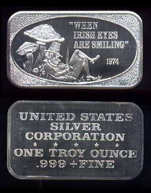"USSC-213 (1974) ""When Irish Eyes Are Smiling"" Silver Artbar"