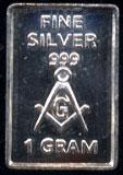 1 Gram of .999 Fine silver Masonic Symbol Silver Artbar
