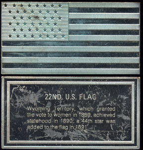 22nd U.S. Flag Wyoming Territory 1408 Gains Sterling - 2.713 ounces of pure silver Silver Artbar