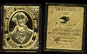 United States Post Office 5 Cents 24k Gold over Sterling Silver Artbar