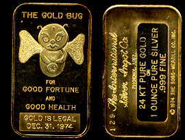 ISIC-11G  The Gold Bug 24K Gold-Plated Silver Art Bar