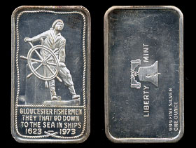 "LBTY-10 (1973) Gloucester Fishermen ""They that go down to the sea in ships"" 1623 - 1973 Silver Artbar"